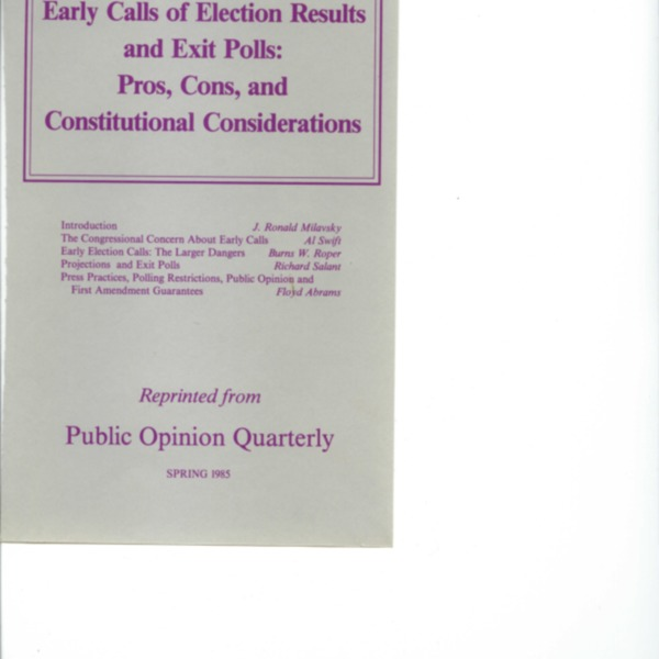 Early Calls of Election Results and Exit Polls